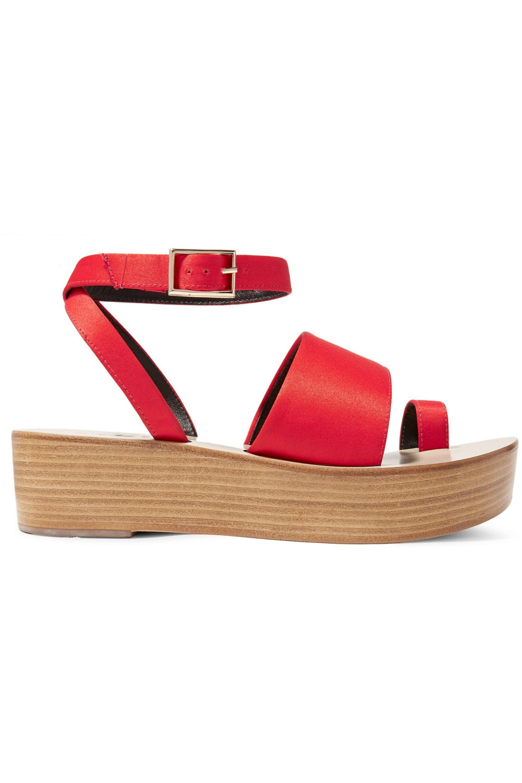 3641b9d005a Tibi Woman Janie Satin Platform Sandals Crimson in Red - Lyst