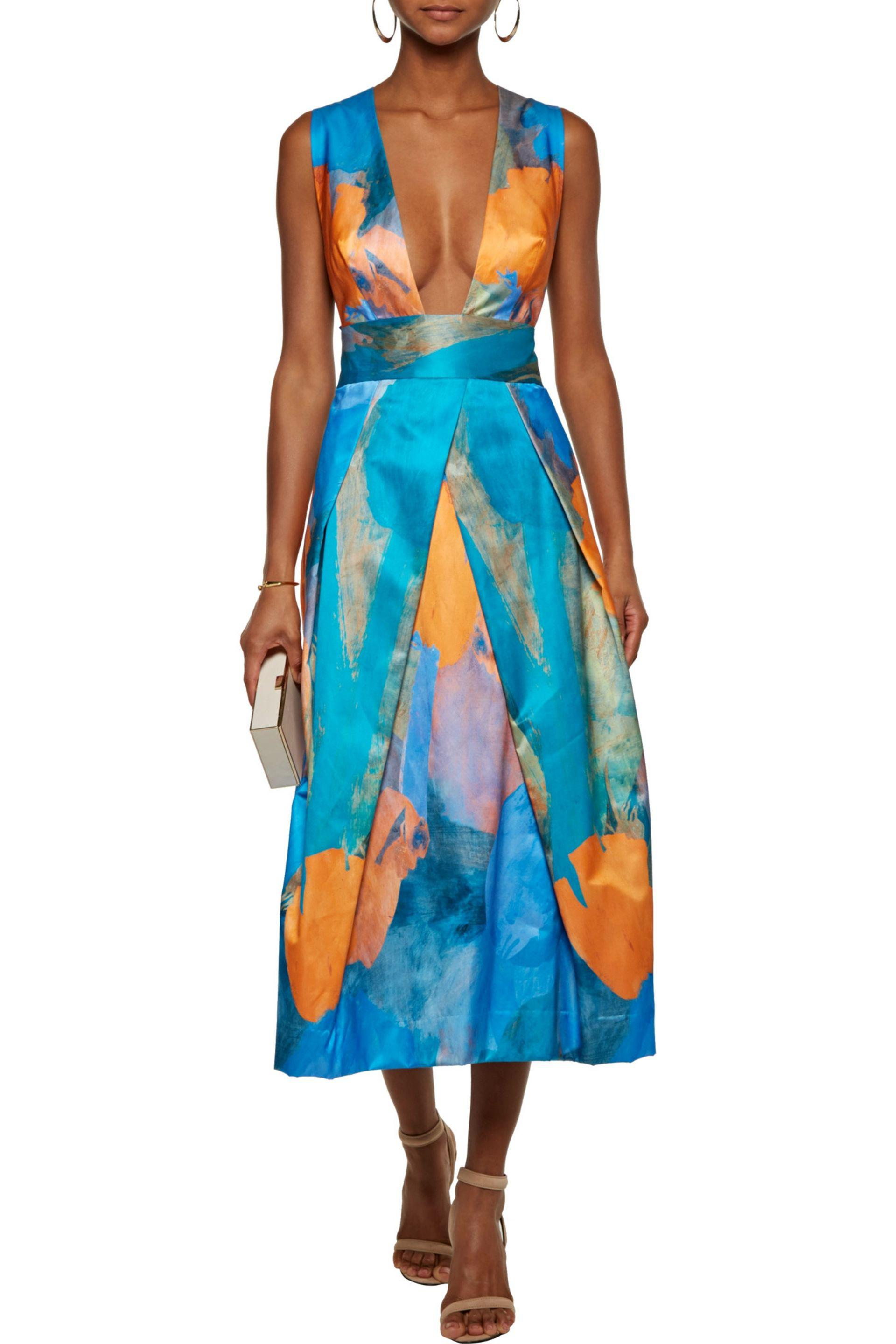 MILLY - Blue Elisa Pleated Printed Cotton And Silk-blend Midi Dress - Lyst.  View Fullscreen
