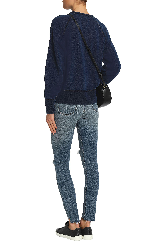 Rag & Bone Distressed Mid-rise Skinny Jeans Mid Denim in Blue