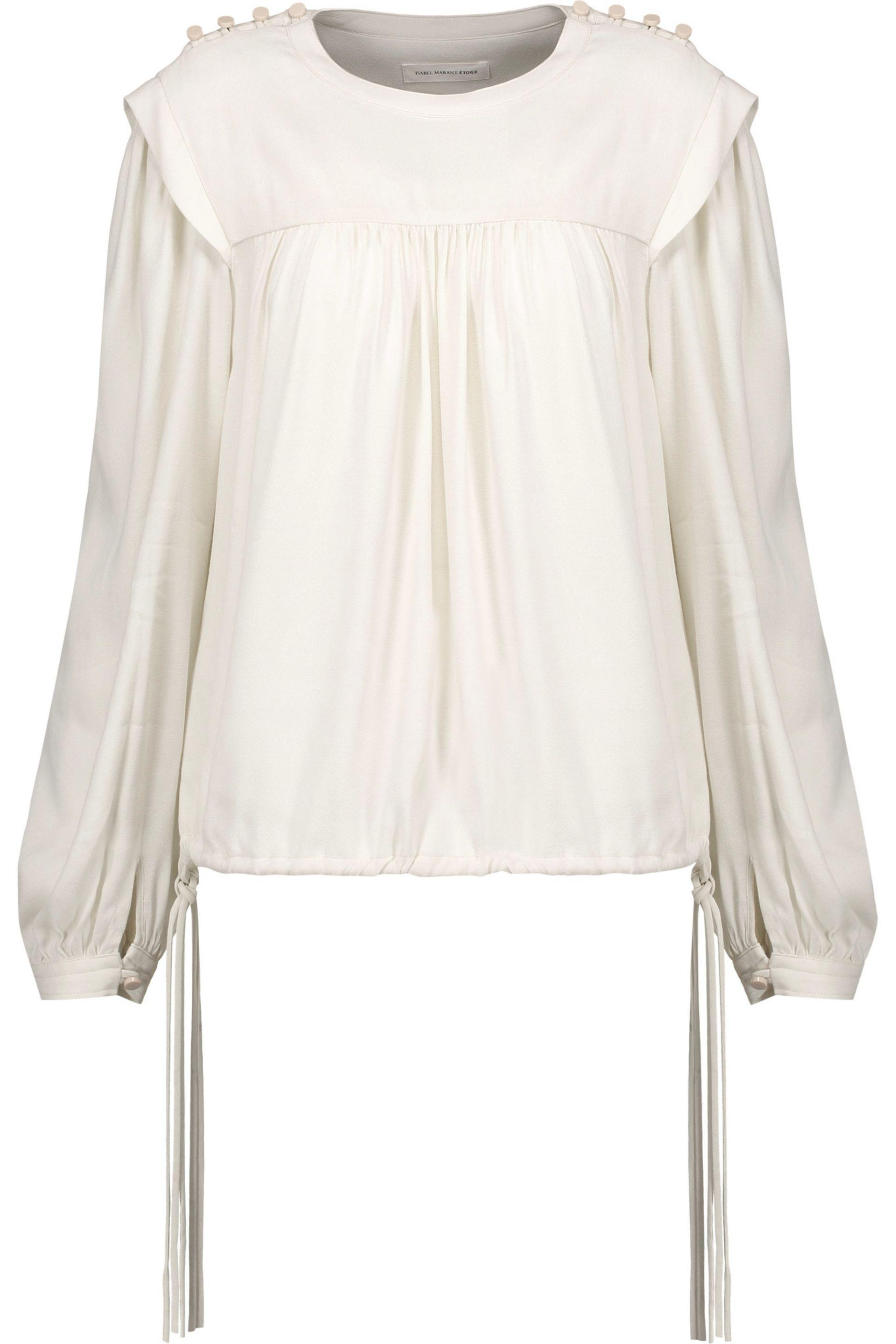 Outlet In China Buy Cheap Best Wholesale Isabel Marant Étoile Woman Laper Gathered Cotton And Silk-blend Voile Blouse White Size 38 Isabel Marant For Nice For Sale Cheap Geniue Stockist Outlet Cheap Prices FwxQtW