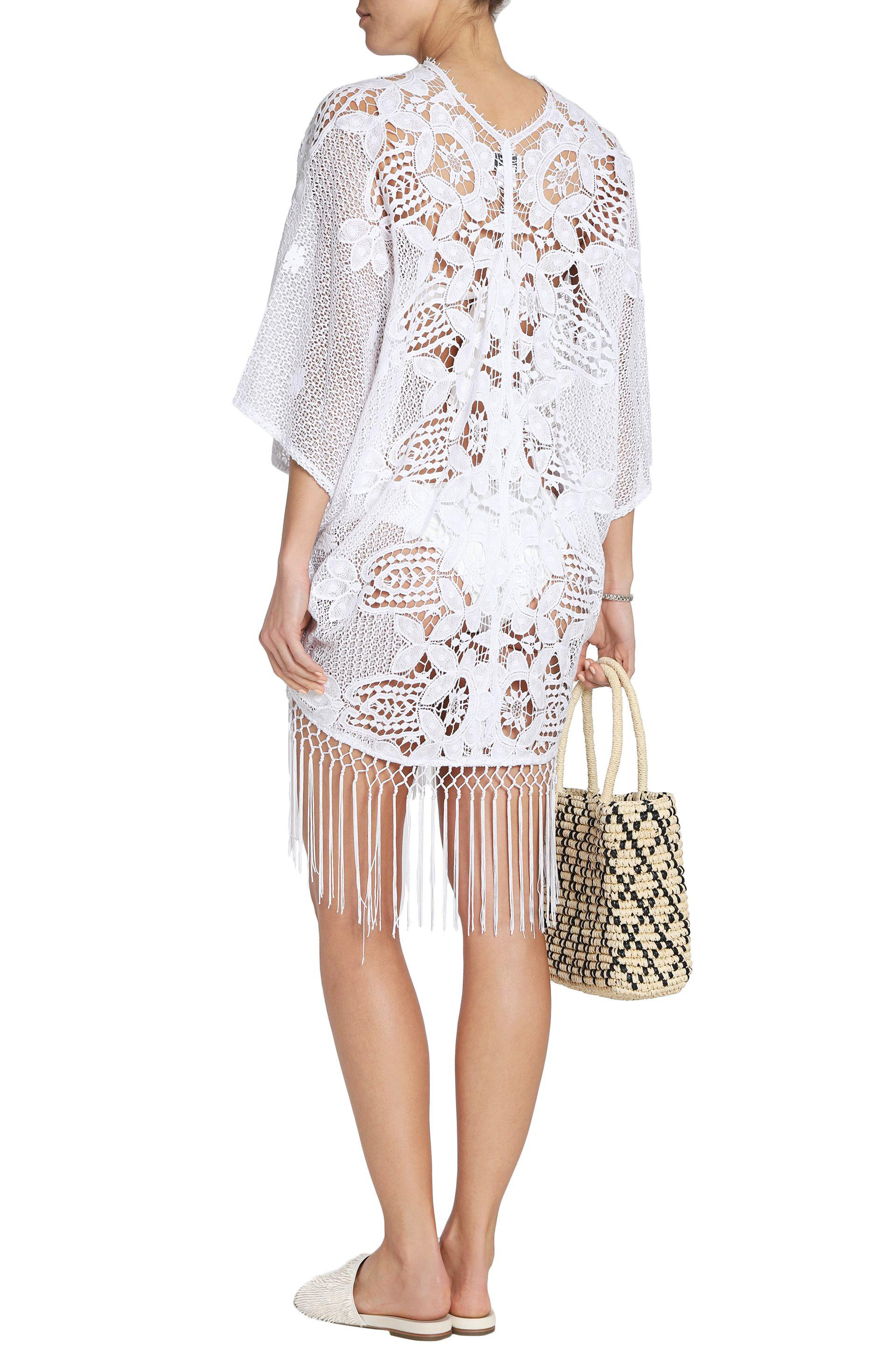 Miguelina Lace Appliquéd Crocheted Cotton Kaftan in White