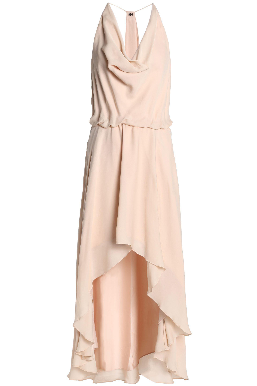 Haute Hippie Woman Lace-up Draped Silk Crepe De Chine Midi Dress Peach Size 4 Haute Hippie 100% Original Cheap Price Multi Coloured Outlet Finishline Shopping Online Cheap Price kEfnEZiww