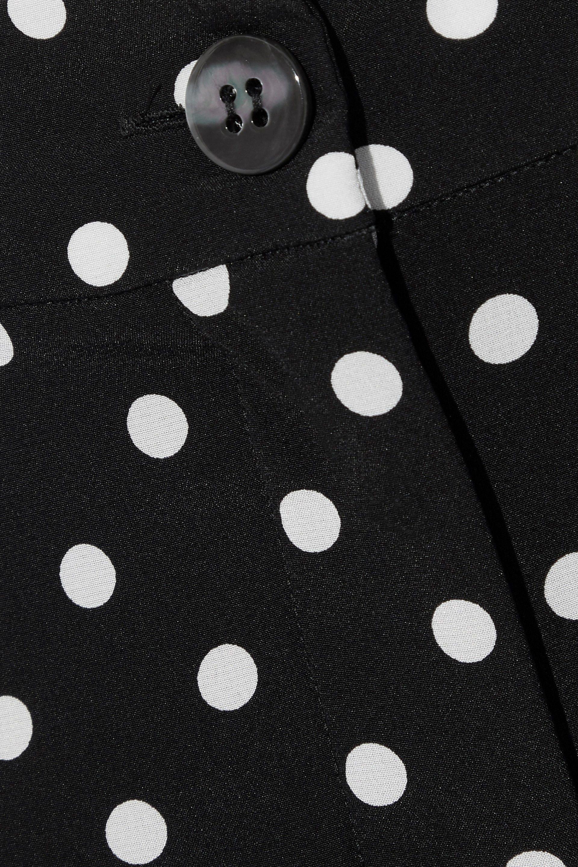 Dolce Amp Gabbana Cropped Polka Dot Silk Blend Slim Leg