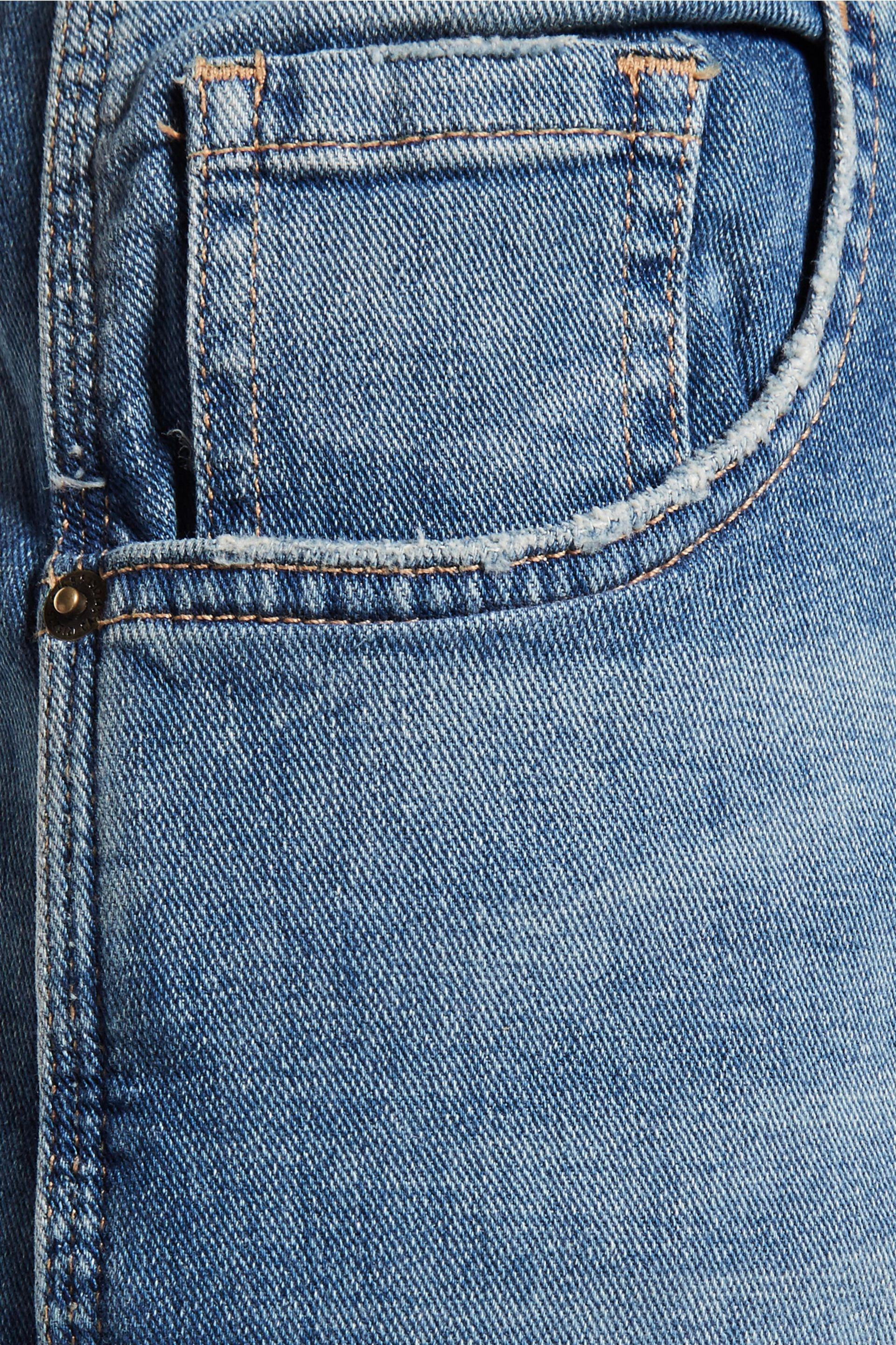 Current/Elliott The Janitor Mid-rise Cropped Faded Straight-leg Jeans Mid Denim Size 24 in Blue