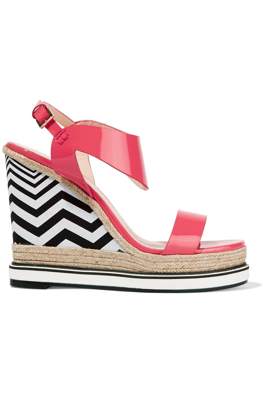 Nicholas Kirkwood. Women's Pink Leda Raffia-trimmed Patent-leather Platform  Sandals
