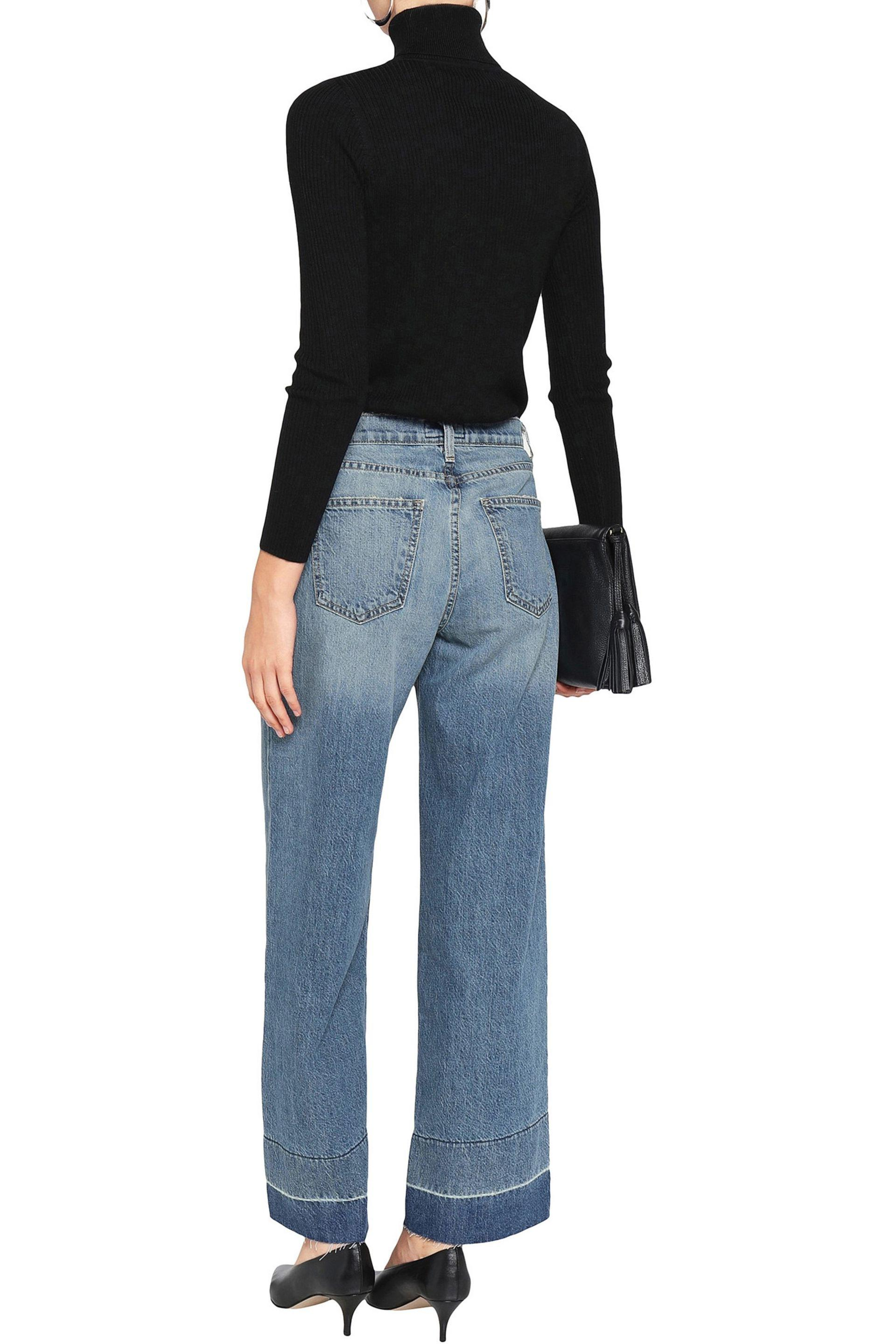 Current/Elliott The Wide Leg Frayed Jeans Mid Denim in Blue