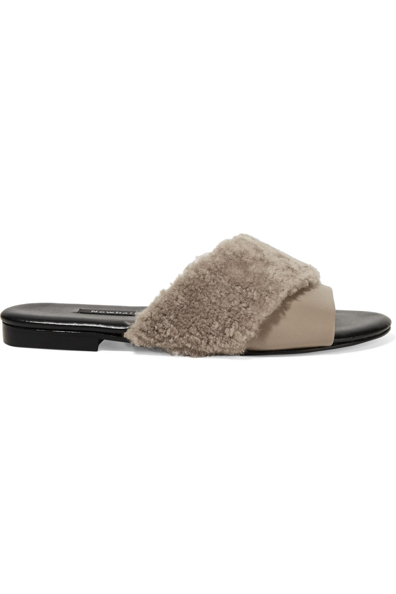 NewbarK Shearling-Trimmed Leather Mules sale new discount price purchase for sale aJfxWB3H