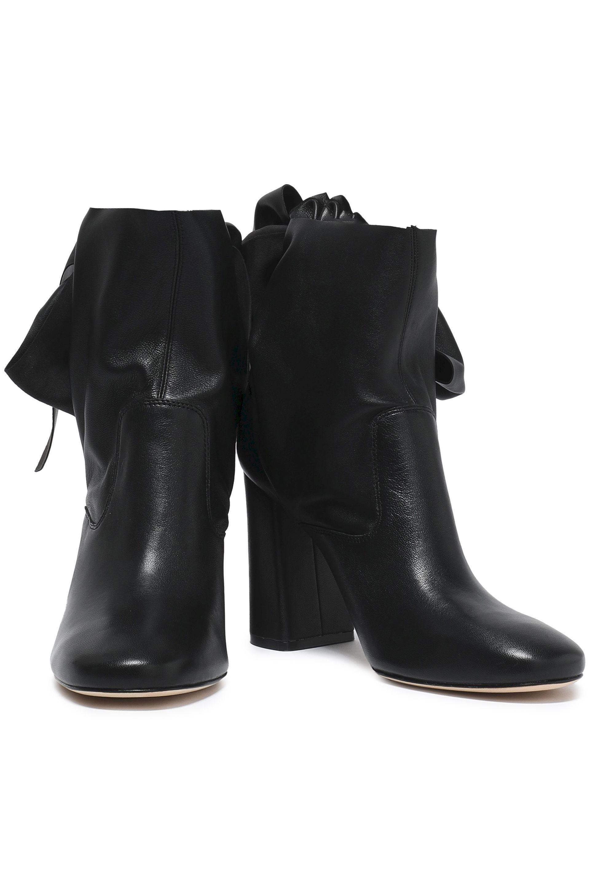 Sigerson Morrison Leather Sally Knotted Suede Ankle Boots in Black