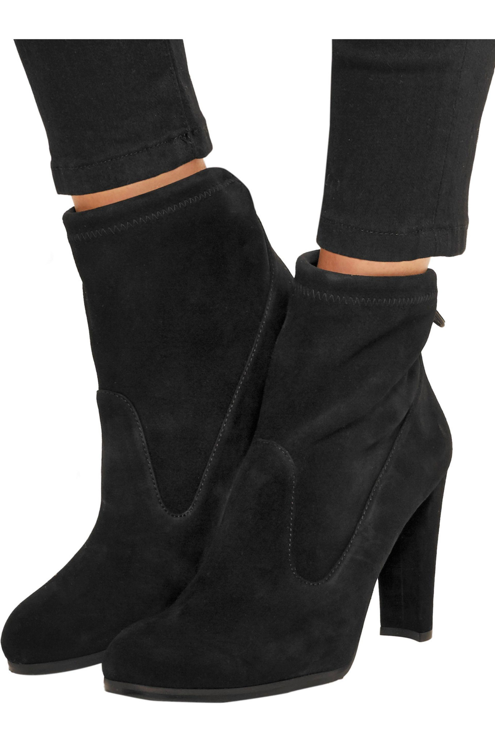c1e85489d90d Stuart Weitzman Glove Stretch-suede Ankle Boots in Black - Lyst