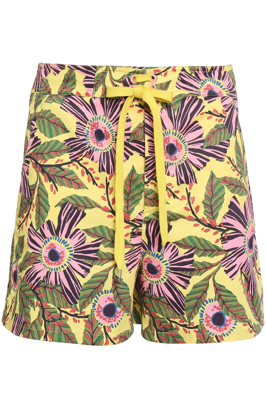 90b9becb92b88 RED Valentino Woman Floral-print Stretch-cotton Shorts Pastel Yellow ...