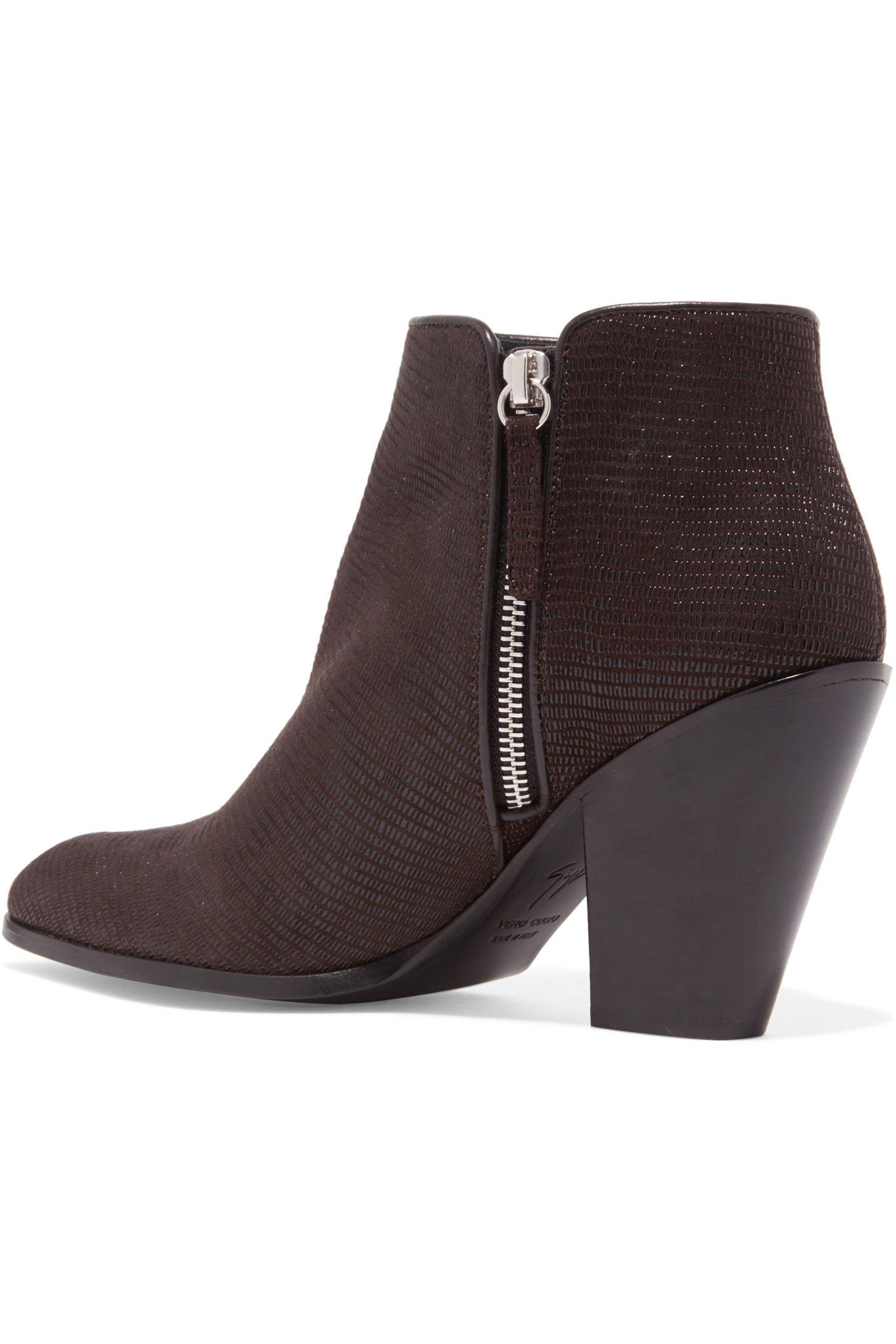 Giuseppe Zanotti Lizard-effect Leather Ankle Boots in Brown