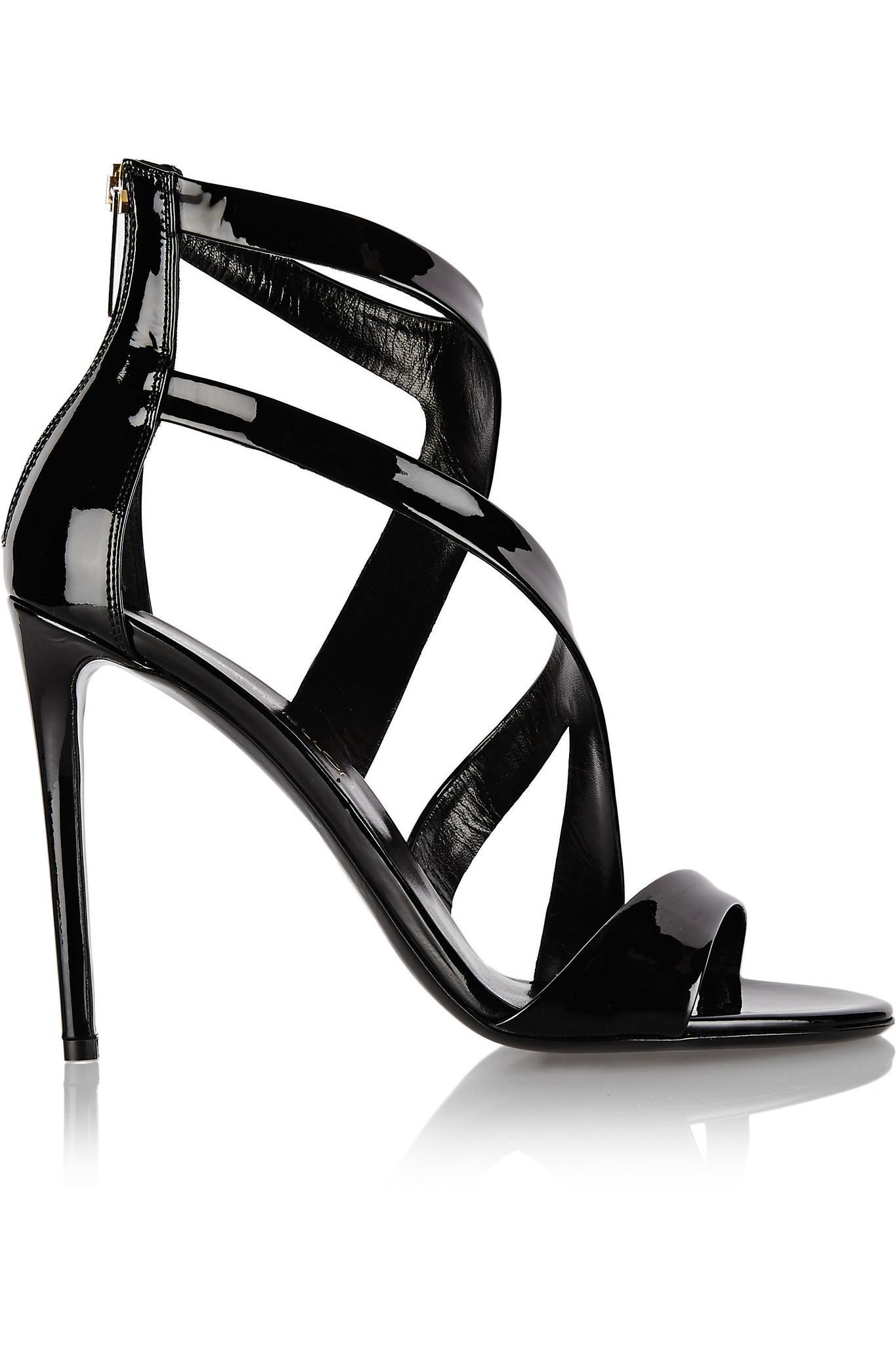 Tamara Mellon Tiger Burgundy Patent Sandals 105MM Heels $795 NEW