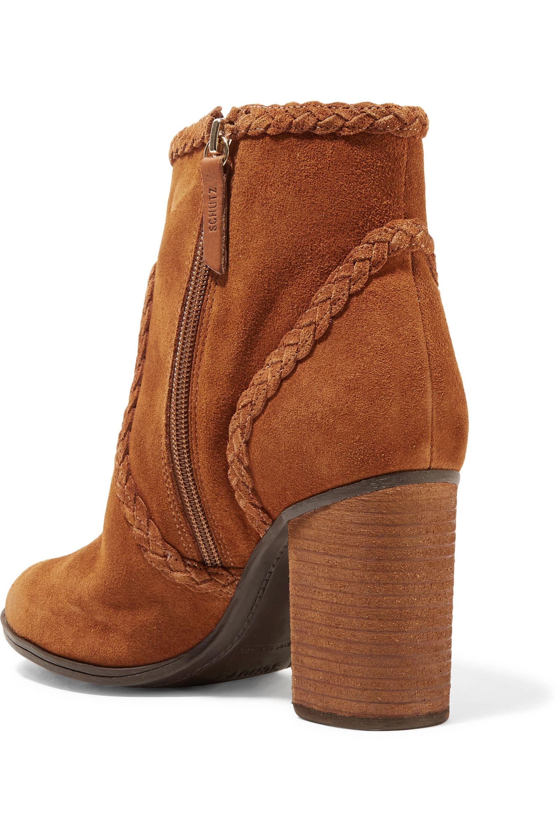 Schutz | Brown Silman Braided Suede Ankle Boots | Lyst. View Fullscreen