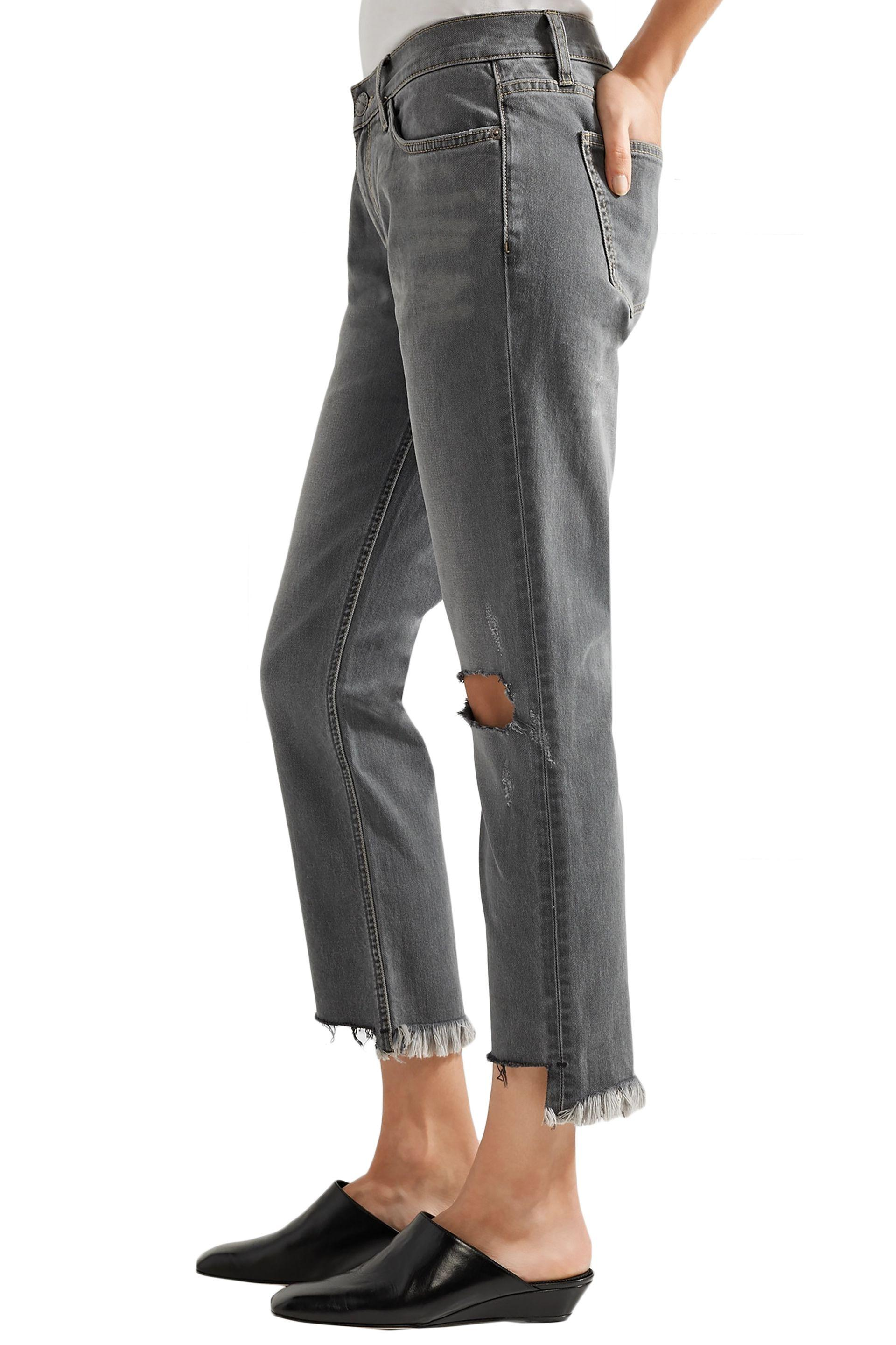 Current/Elliott Denim The Cropped Distressed Mid-rise Straight-leg Jeans Gray