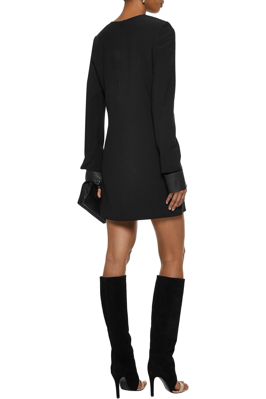 Helmut Lang Woman Leather-trimmed Cutout Cady Mini Dress Black Size 4 Helmut Lang HPRs3aMIle