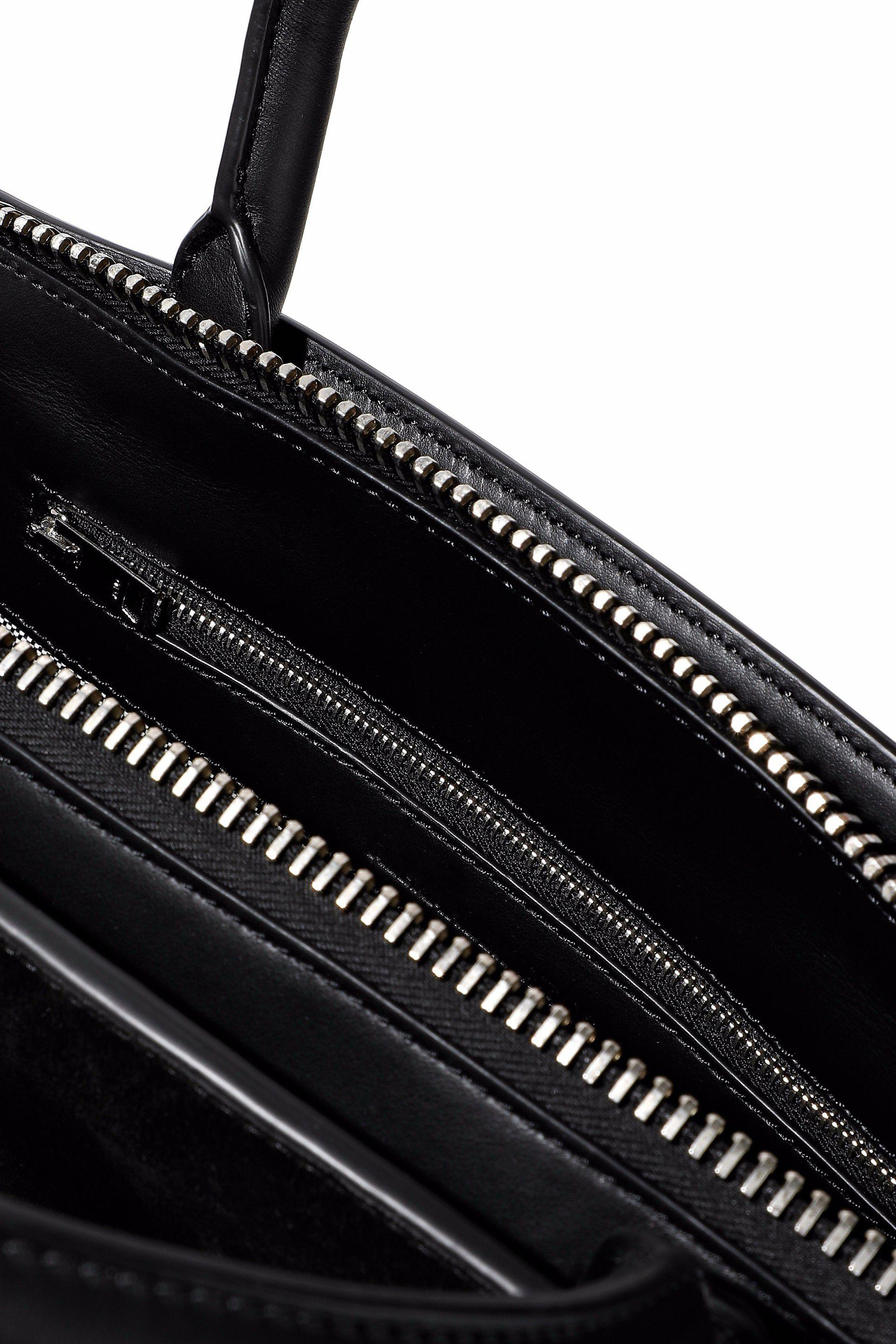 Alexander Wang Snake Effect-trimmed Two-tone Leather And Suede Shoulder Bag in Black