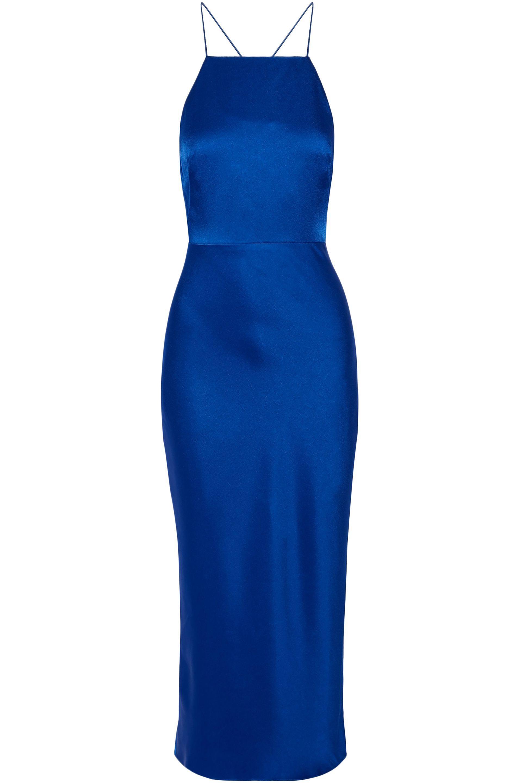 82f421145934 Lyst - Jason Wu Woman Open-back Satin Midi Dress Blue in Blue - Save 65%