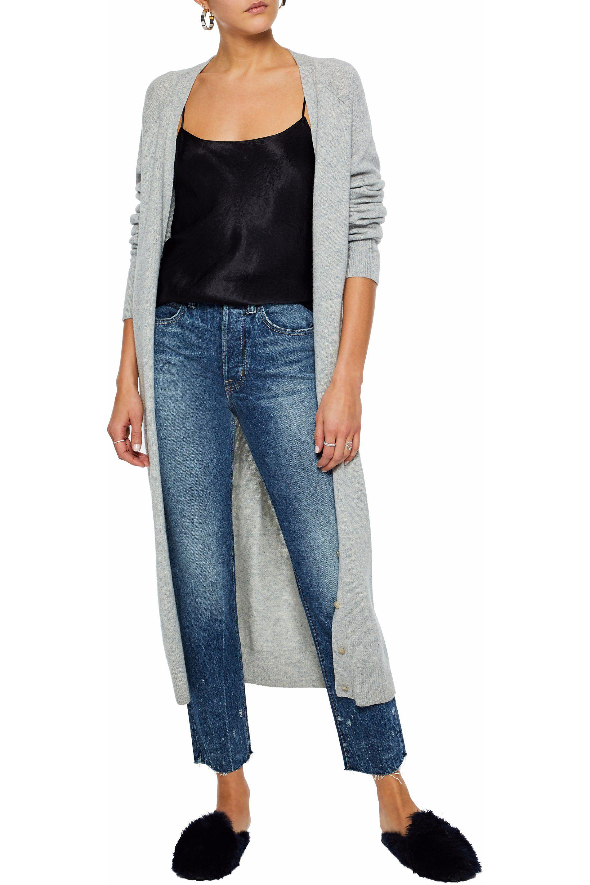 Helmut Lang Cropped Distressed High-rise Slim-leg Jeans Light Denim in Blue