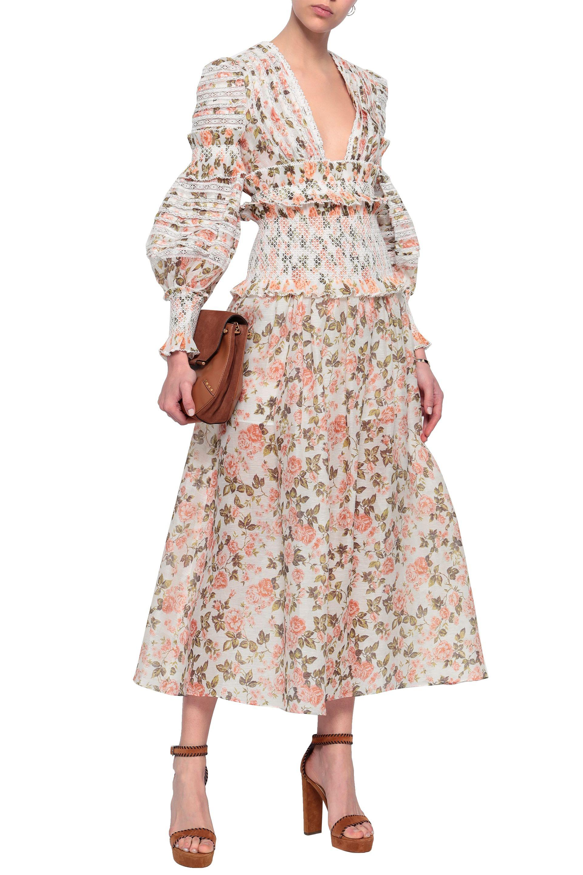 e61a6ae78abc Zimmermann Woman Cropped Smocked Floral-print Linen And Silk-blend ...