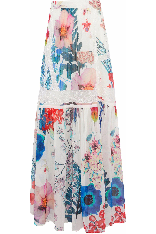 cd1477f219 Roberto Cavalli. Women's Lace-trimmed Floral-print Silk-chiffon Maxi Skirt