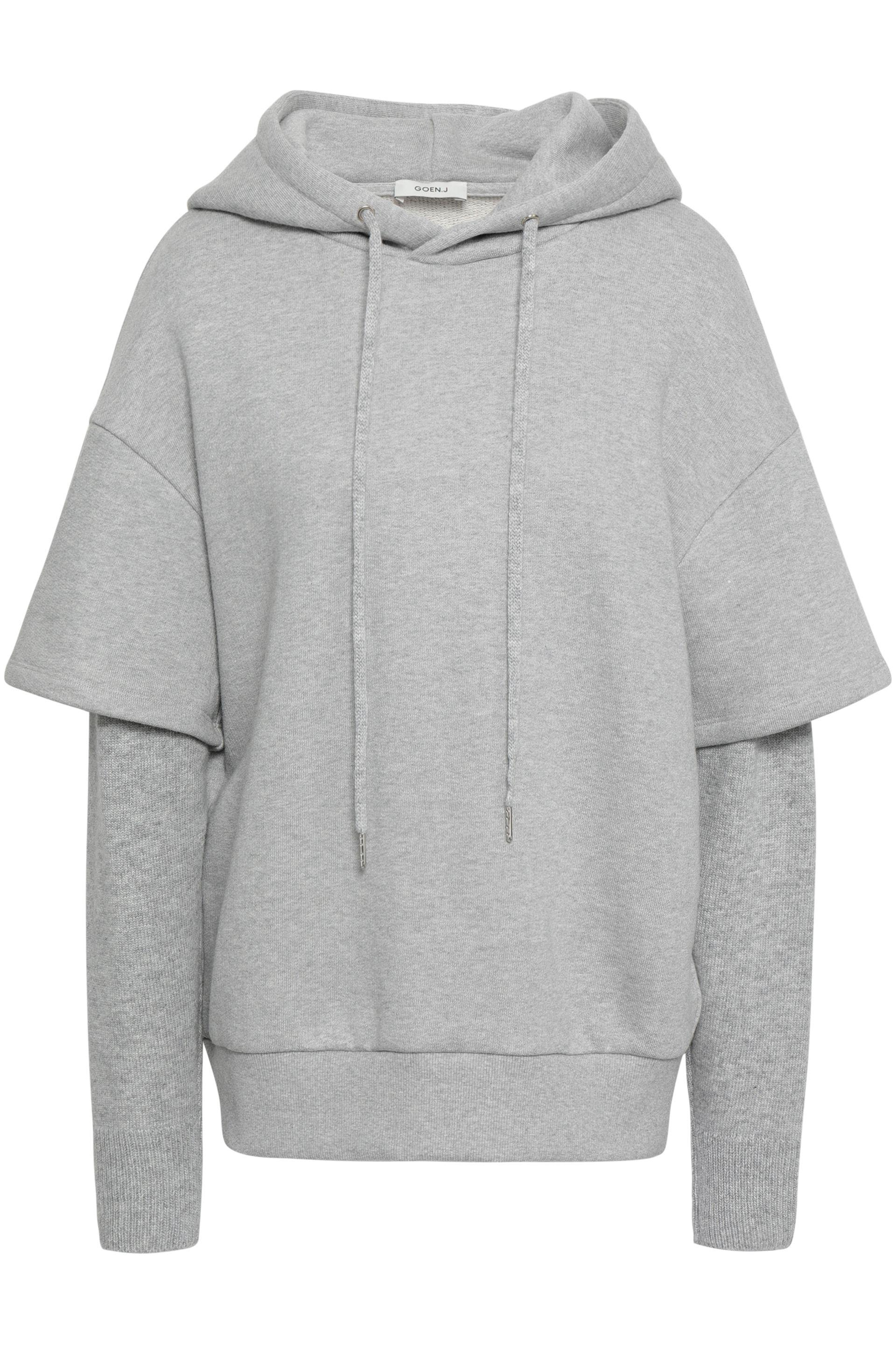 2a2db3f2a93 Goen.J. Women s Gray Woman Layered Knitted And French Cotton-terry Hooded  Sweatshirt Light Grey