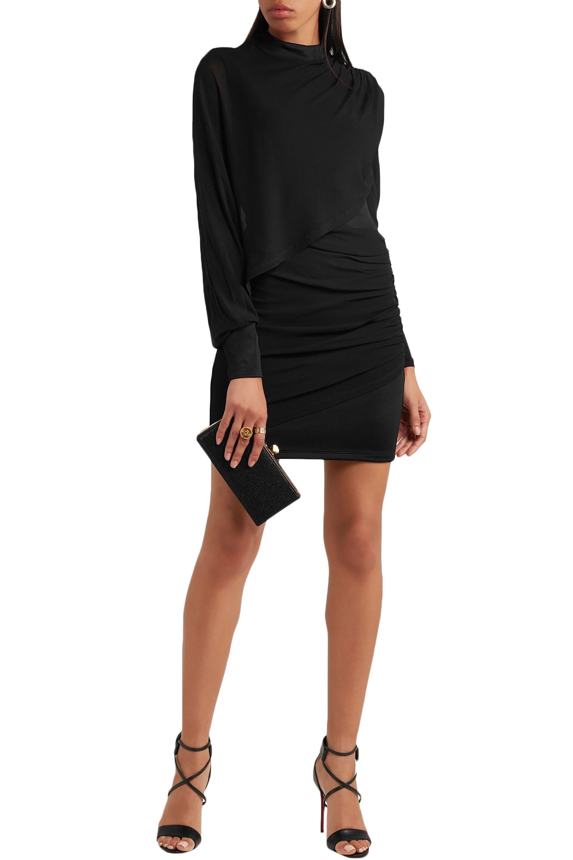 75b381e8 Balmain - Woman Ruched Chiffon-paneled Jersey Mini Dress Black - Lyst. View  fullscreen