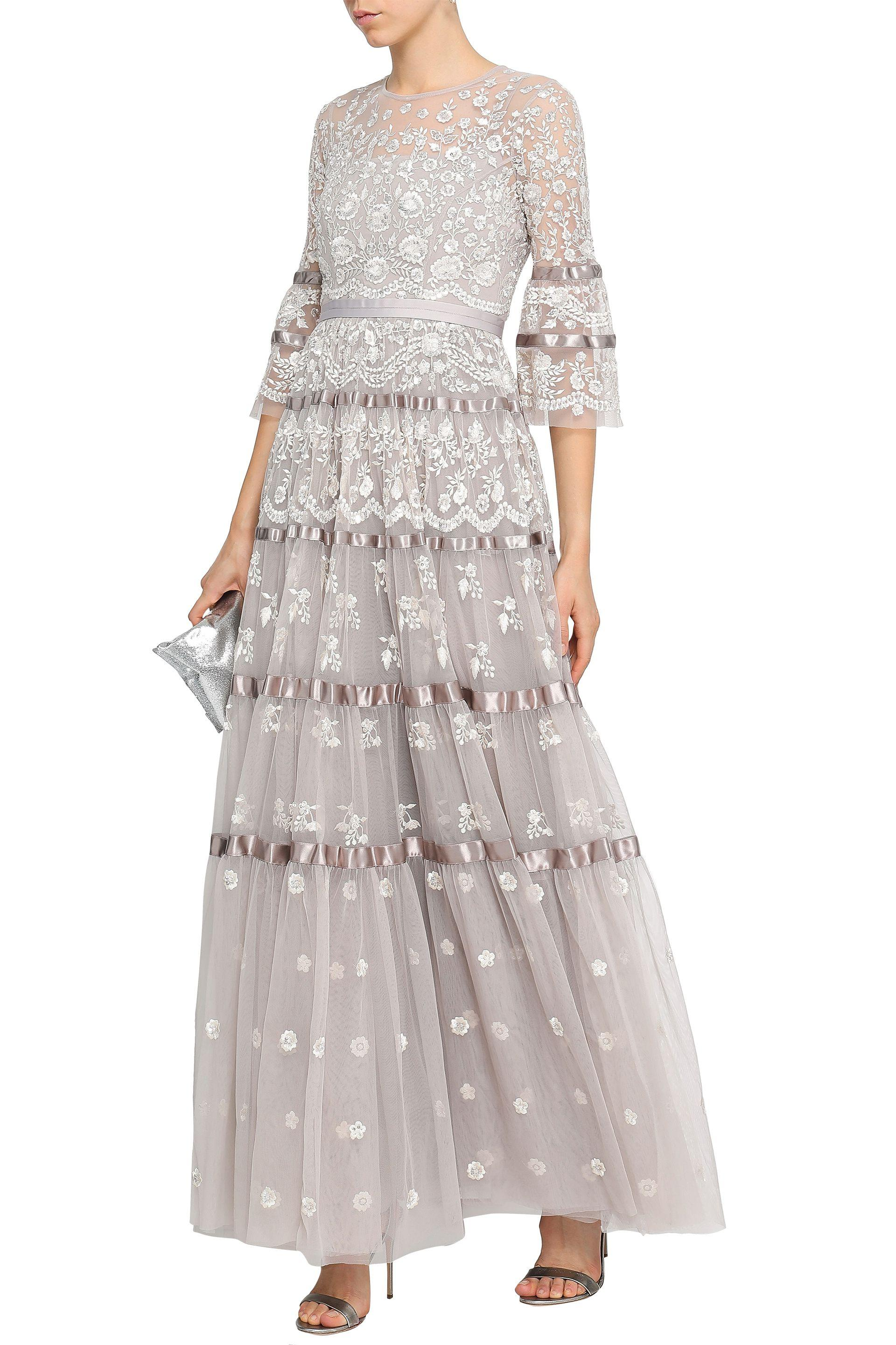 Needle & Thread Roses Satin-trimmed Embellished Tulle Gown Neutral