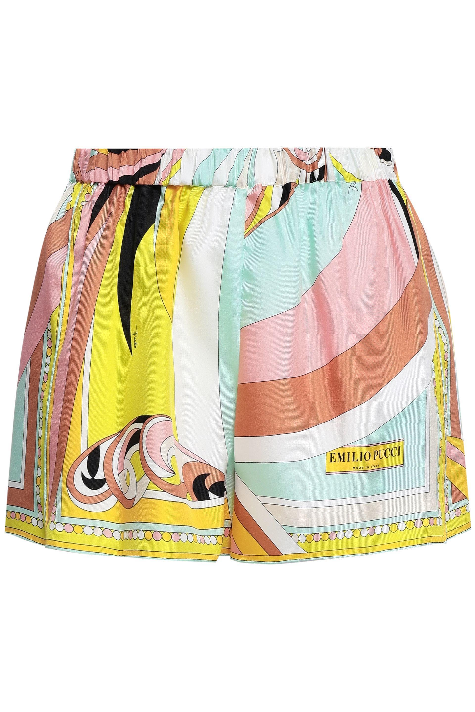 eaddbf470201 Emilio Pucci - Woman Printed Silk Shorts Yellow - Lyst. View fullscreen
