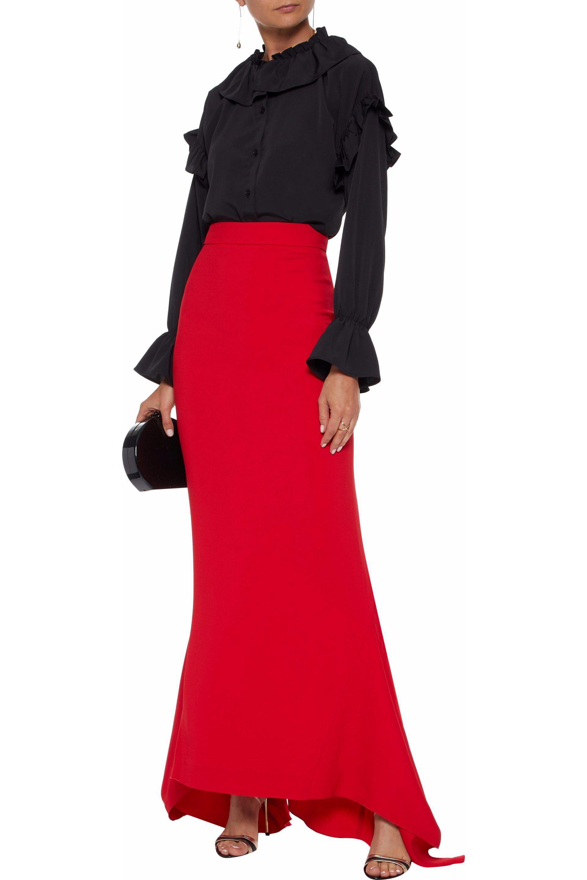 5dc5d8f103 Antonio Berardi - Red Fluted Stretch-crepe Maxi Skirt - Lyst. View  fullscreen