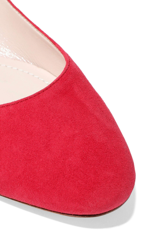 b45b76380 Nicholas Kirkwood Lola Faux Pearl-embellished Suede Ballet Flats Red. View  fullscreen