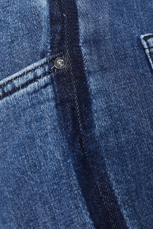 Victoria, Victoria Beckham Two-tone High-rise Slim-leg Jeans Mid Denim in Blue