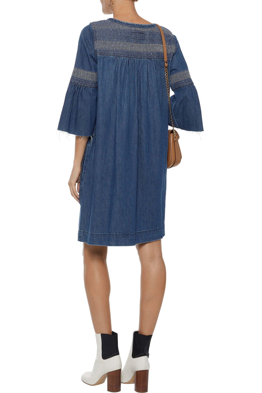 266f9cc9de Lyst - Current Elliott Woman The Abigail Embroidered Denim Dress Mid ...