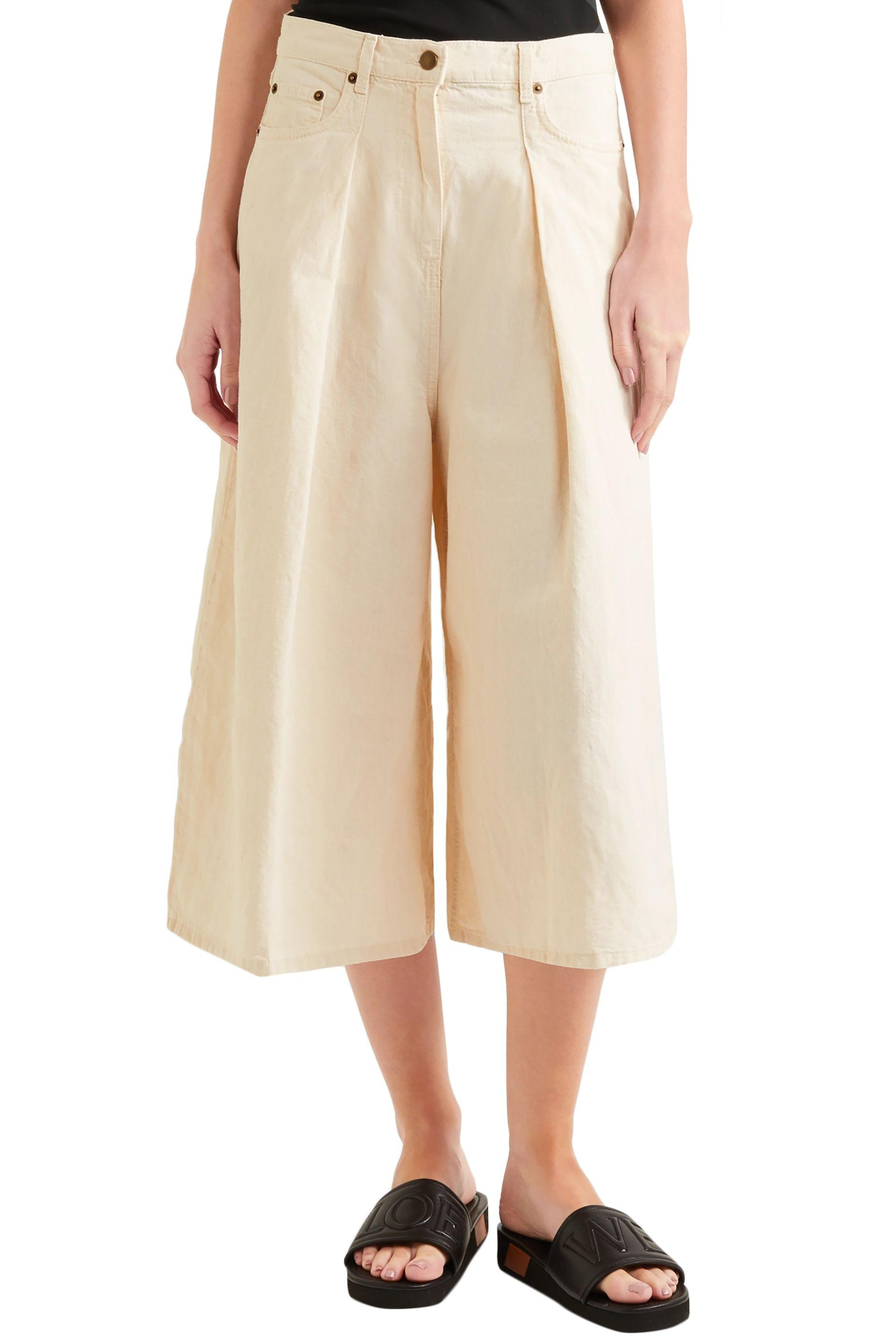 McQ Denim Cropped Cotton And Linen-blend Wide-leg Pants Ivory in White