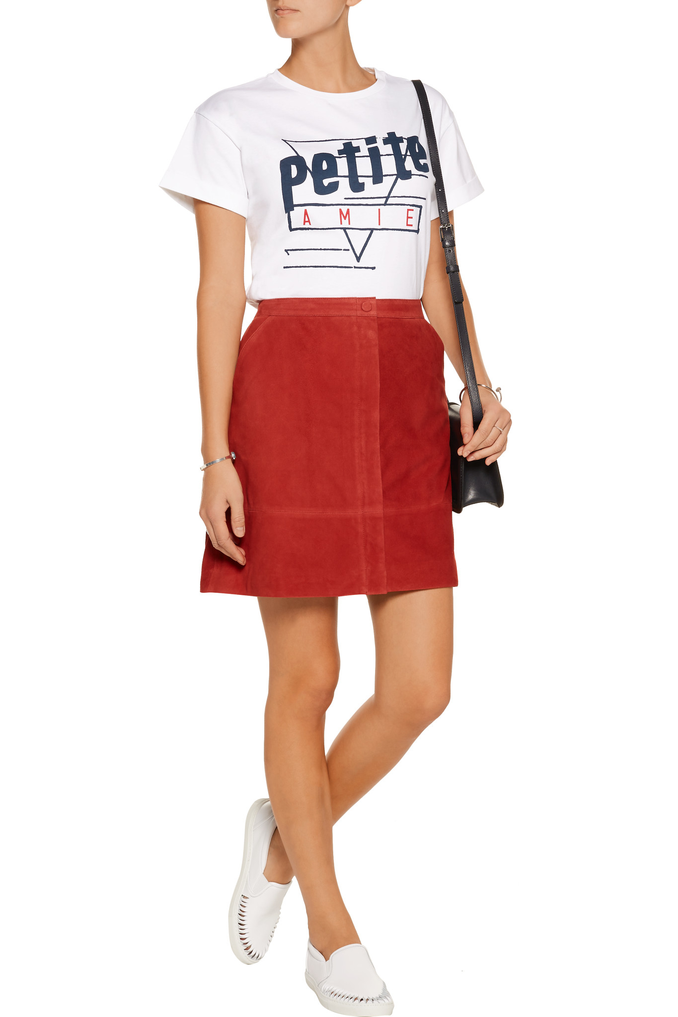 Lyst Tre C Cile Petite Amie Cotton Jersey T Shirt In White