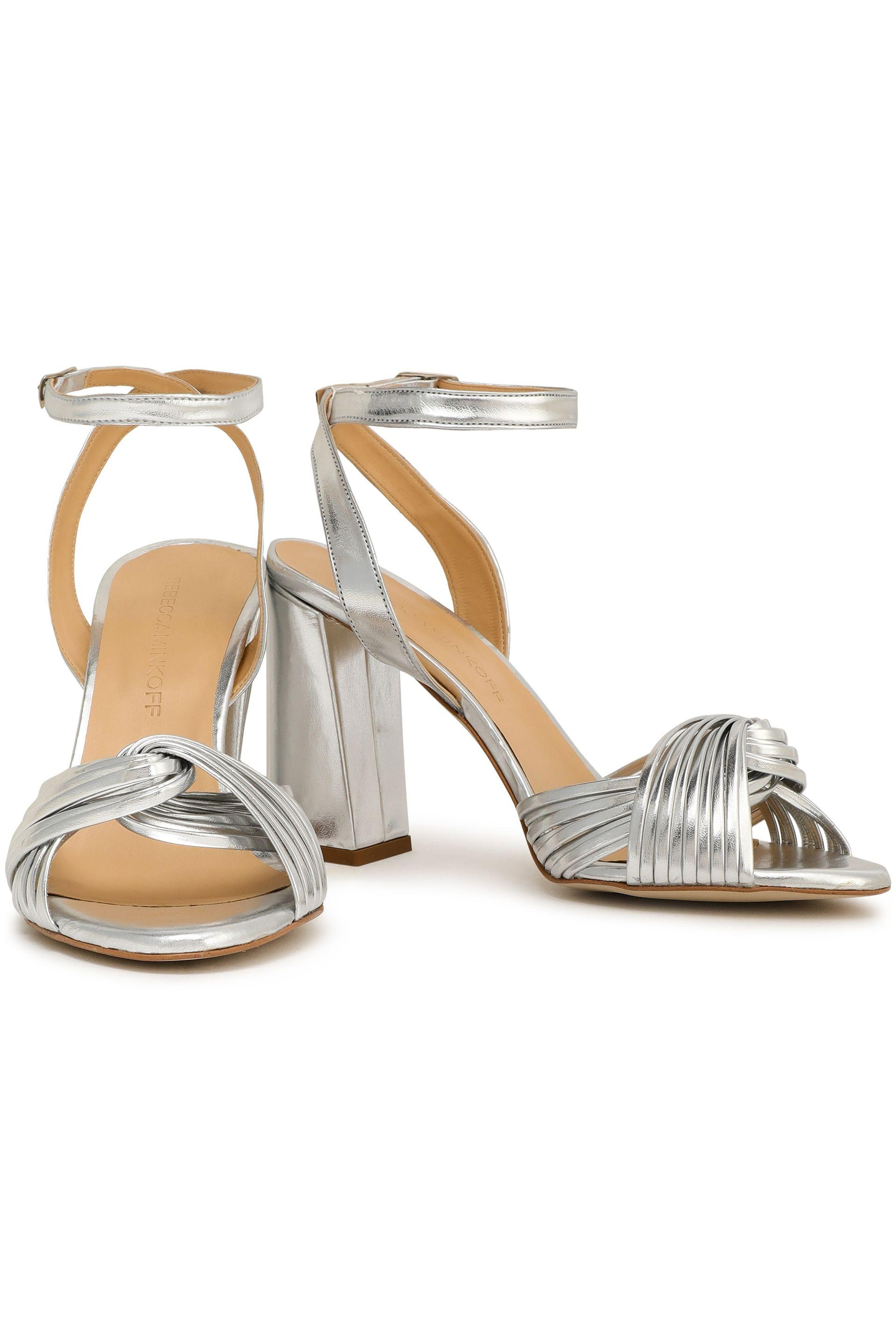 39eca984a54 Rebecca Minkoff Metallic Knotted Mirrored Faux Leather Sandals Silver