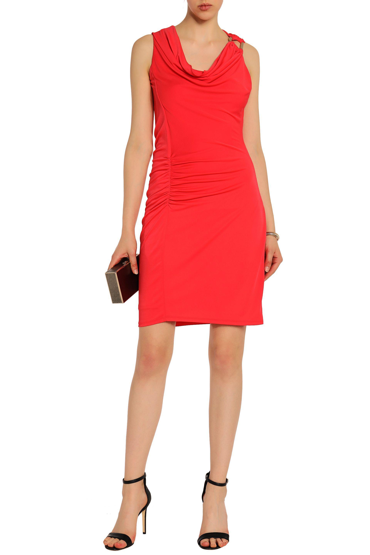 Halston Heritage Woman Ruched Draped Stretch-jersey Mini Dress Tomato Red Size XL Halston Heritage yKLrGqt