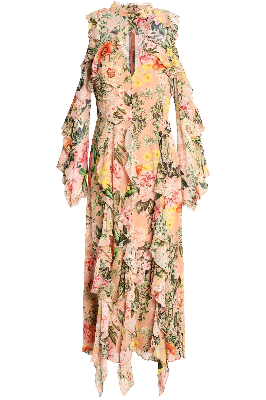 Nicholas Woman Ruffled Floral-print Silk-chiffon Mini Dress Black Size 2 Nicholas 5vuJuGaC71
