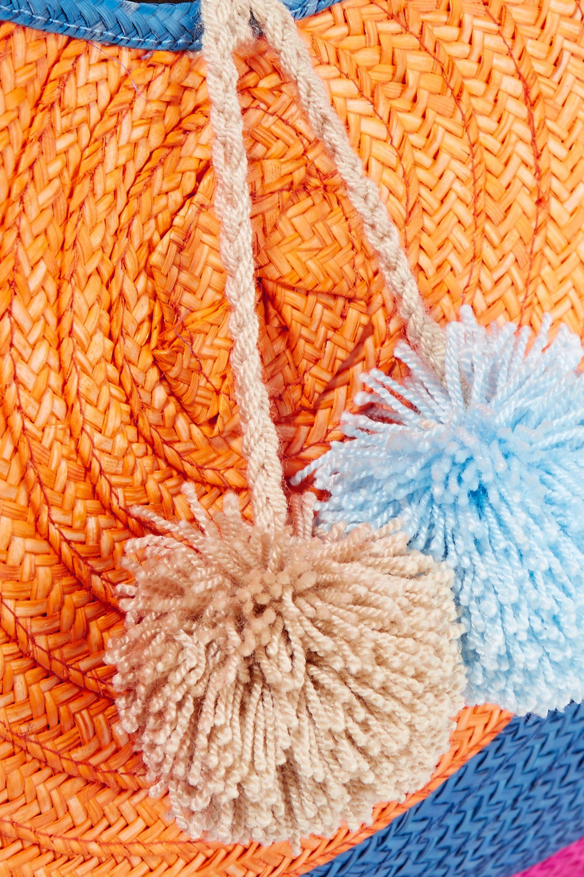 Sophie Anderson Suede Adorada Pompom-embellished Woven Raffia Tote in Blue