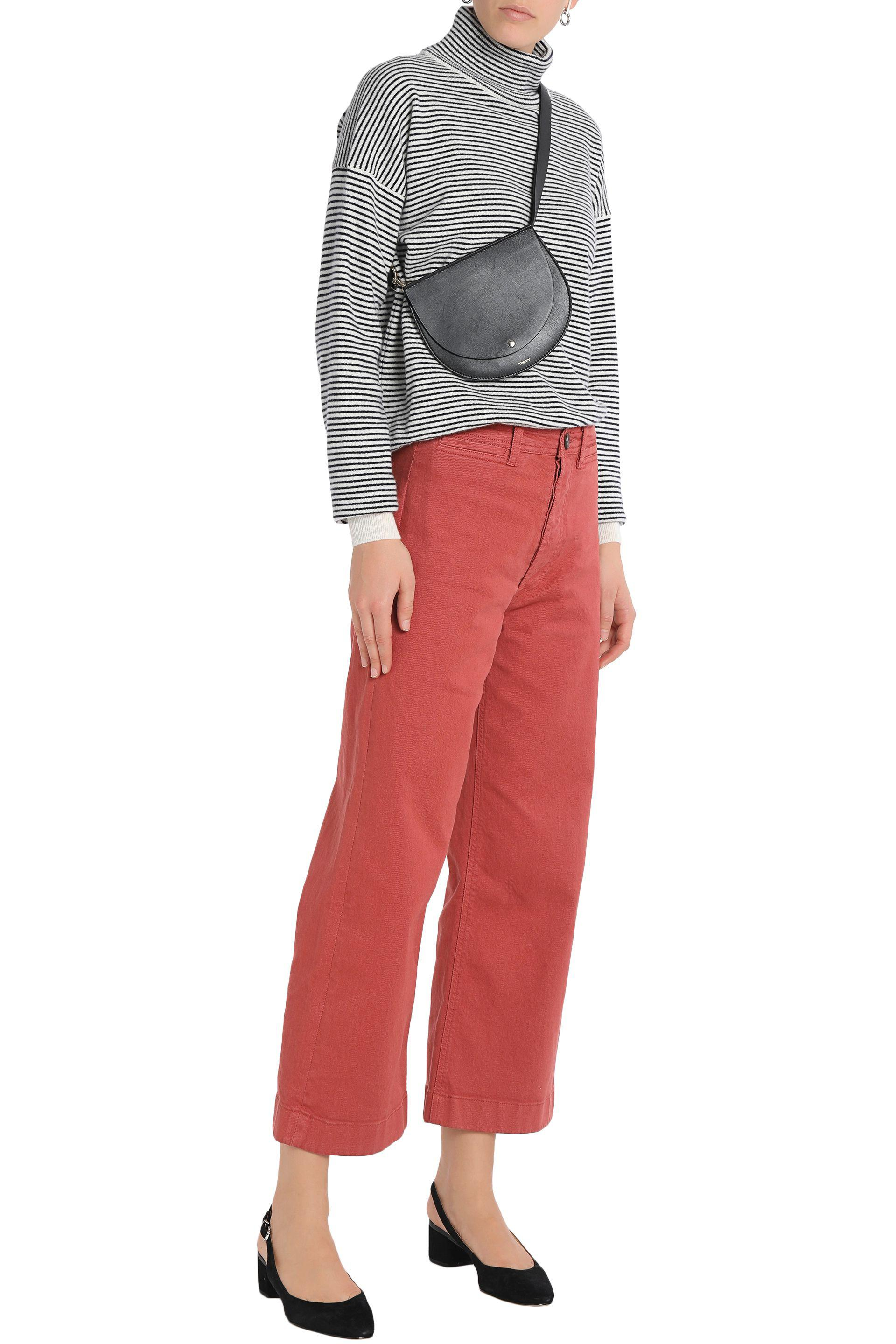 M.i.h Jeans Denim Cropped High-rise Wide-leg Jeans in Brick (Red)