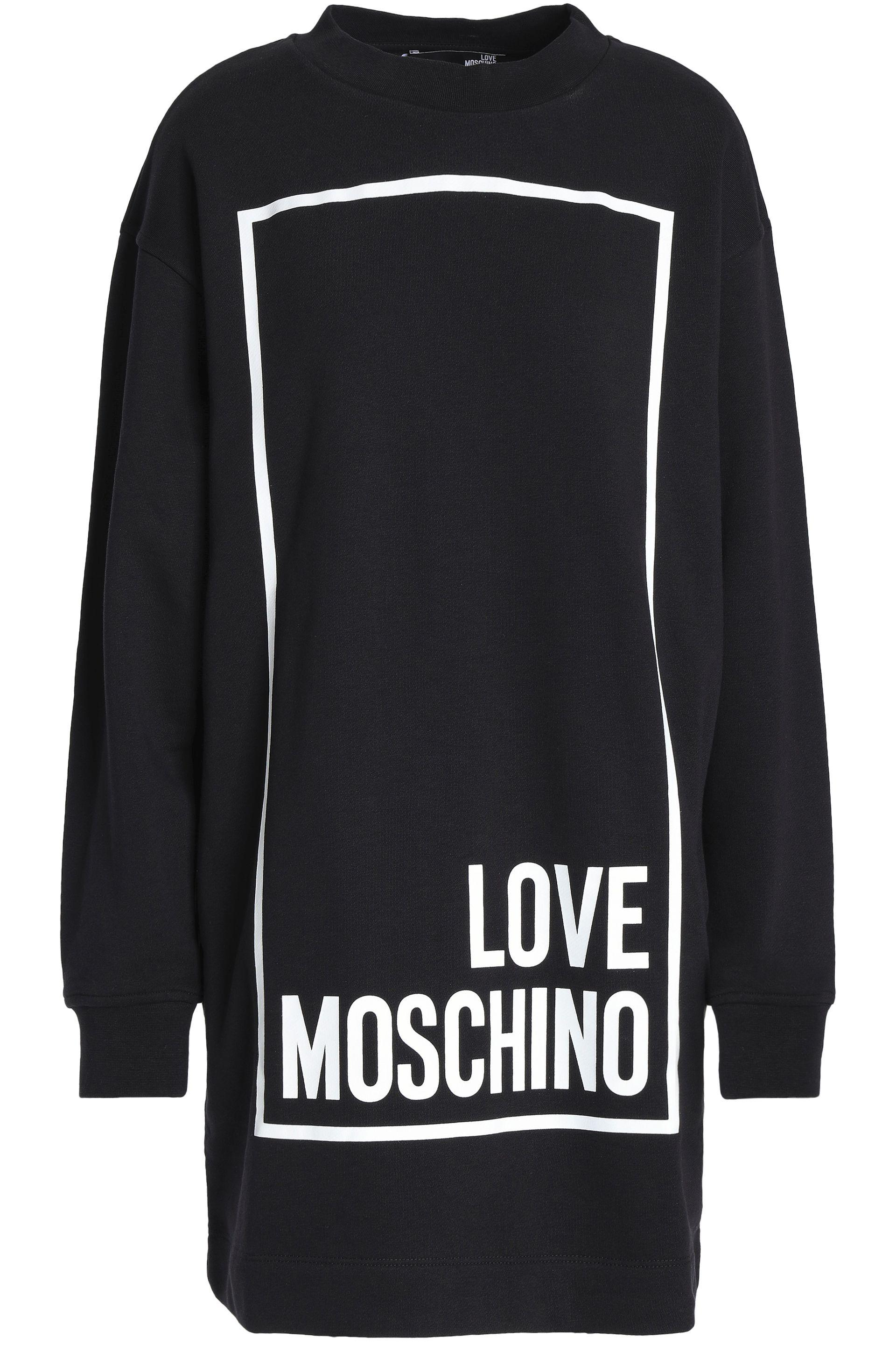 Stamp Goes On What Side Love Moschino Printed Cotton Blend Jersey Mini Dress In