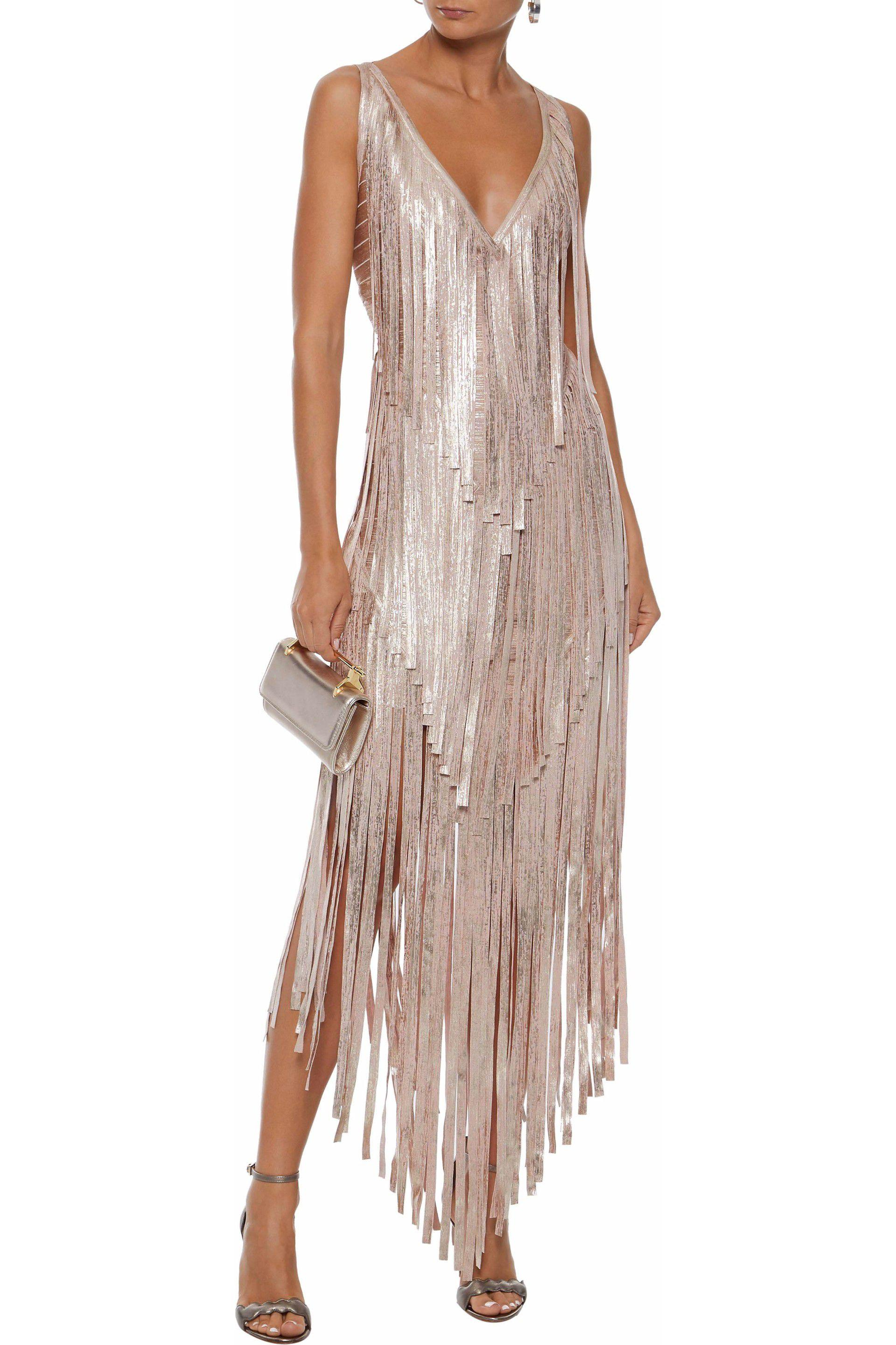 486951953d8 Hervé Léger Hervé Léger Woman Izabel Fringed Metallic Coated Bandage ...