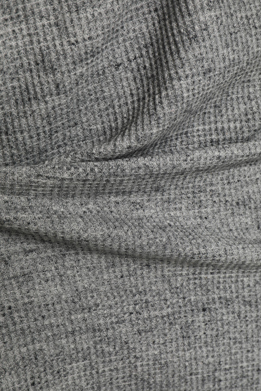 Splendid Woman Lace-up Marled Waffle-knit Top Gray