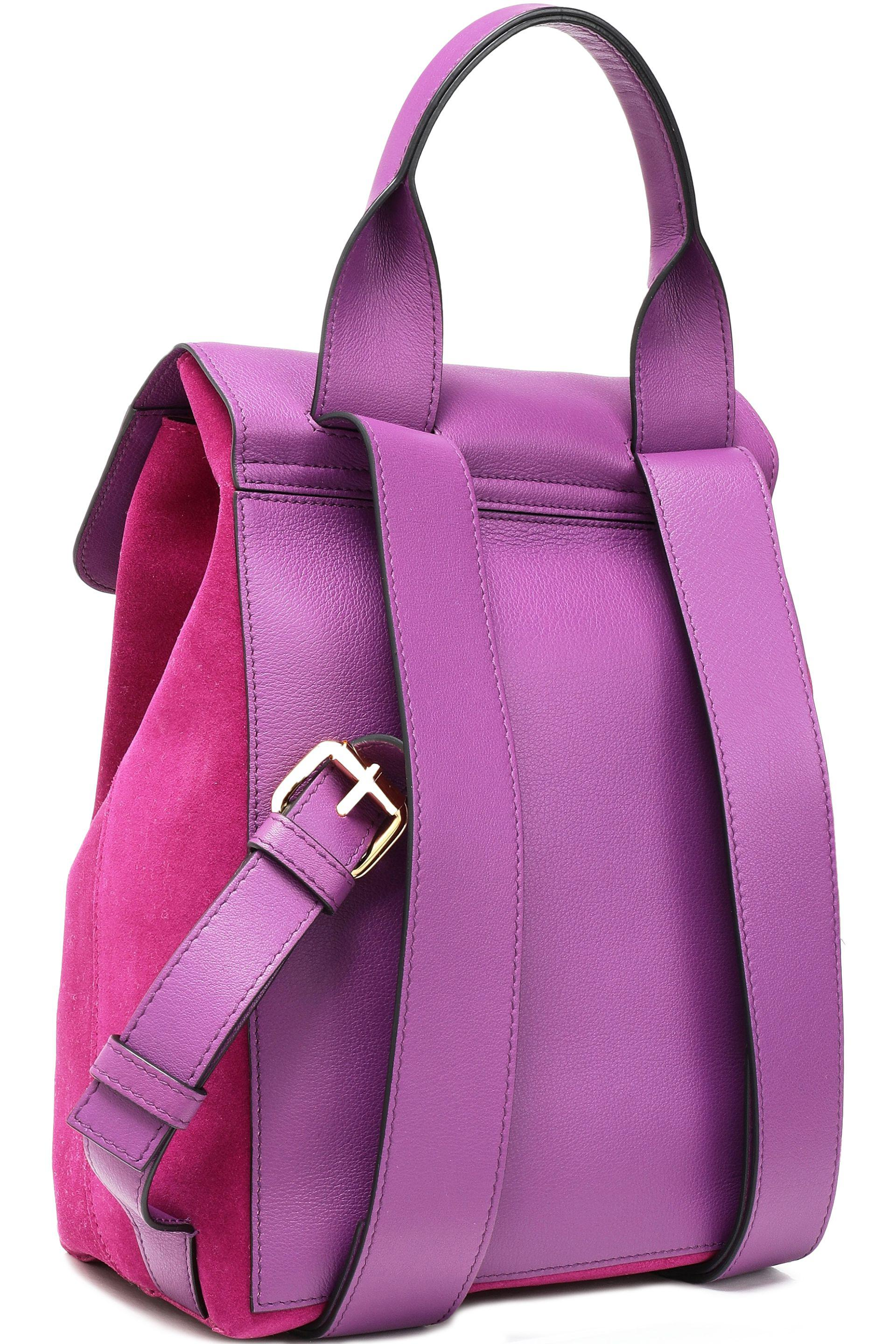 JW Anderson Pierce Leather And Suede Backpack in Magenta (Purple)