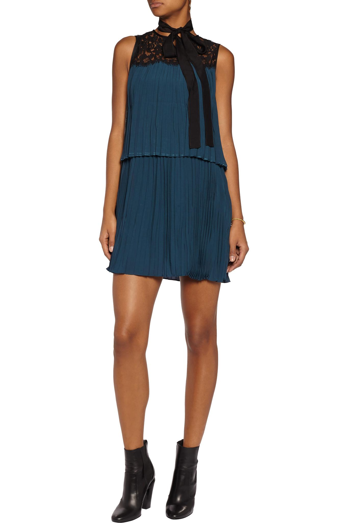 Rachel Zoe Berenice Lace Paneled Pleated Voile Mini Dress Storm Blue