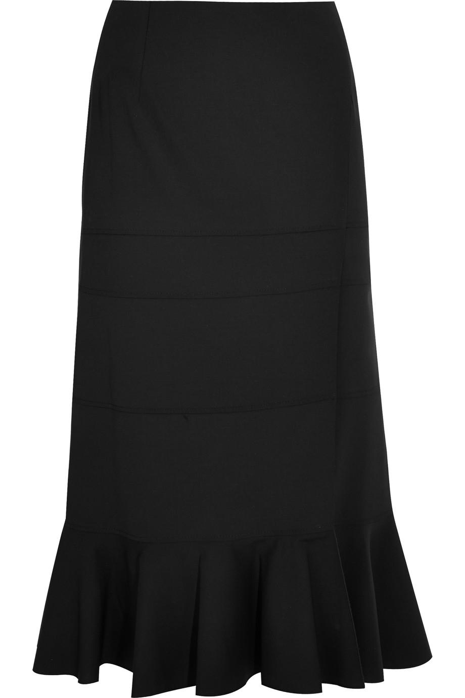 altuzarra faulk stretch wool midi skirt in black save 50
