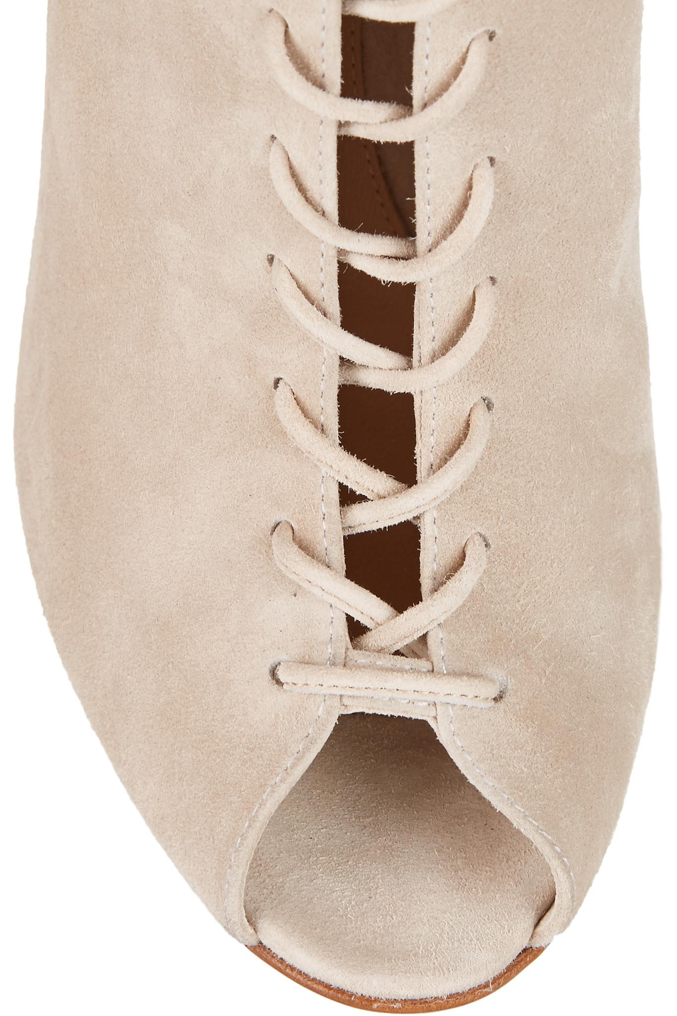 Gianvito Rossi Lace-up Suede Ankle Boots in Ecru (Natural)