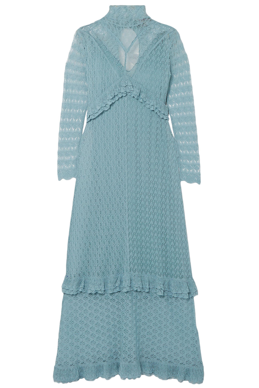 b70e58f494b7 ALEXACHUNG. Women s Woman Ruffle-trimmed Pointelle-knit Turtleneck Midi  Dress ...