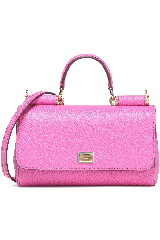 Lyst - Dolce   Gabbana Miss Sicily Textured-leather Shoulder Bag in Pink 651c8fc3f1c7b