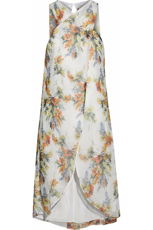 Haute Hippie Woman Wrap-effect Floral-print Silk-georgette Top White Size M Haute Hippie eb5W7rU