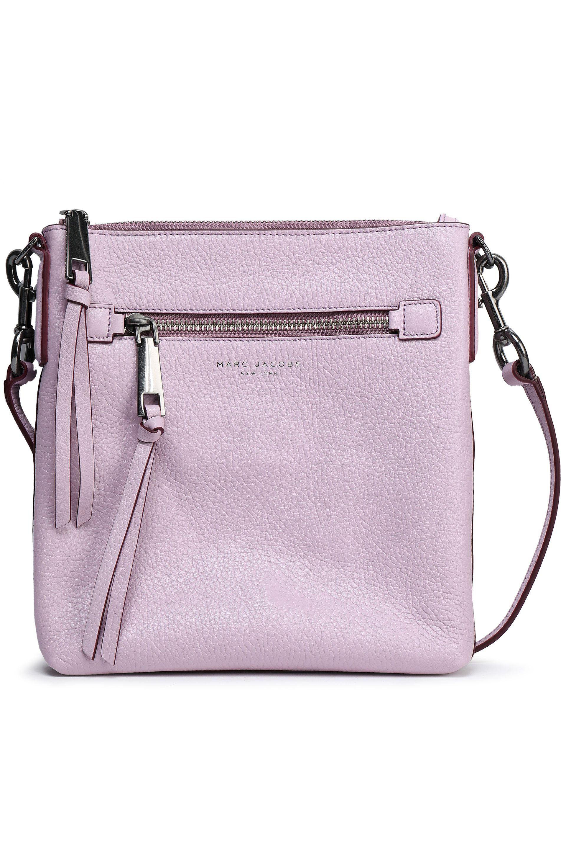 Marc Jacobs Maverick Leather Top Zip Tassel Crossbody Shoulder Bag Lilac Pink
